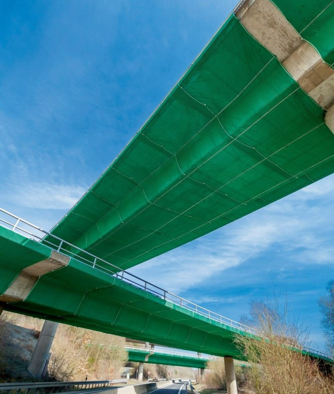 Bridge Safety Net with covering tarpaulin by the m² | Safetynet365