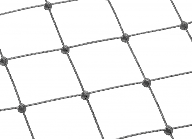 Stainless Steel Wire Rope Net by the m² with 4.0 mm Rope Diameter